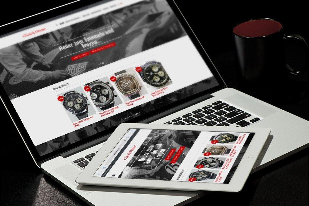 Referenz ClassicHeuer Website Laptop und Smartphone
