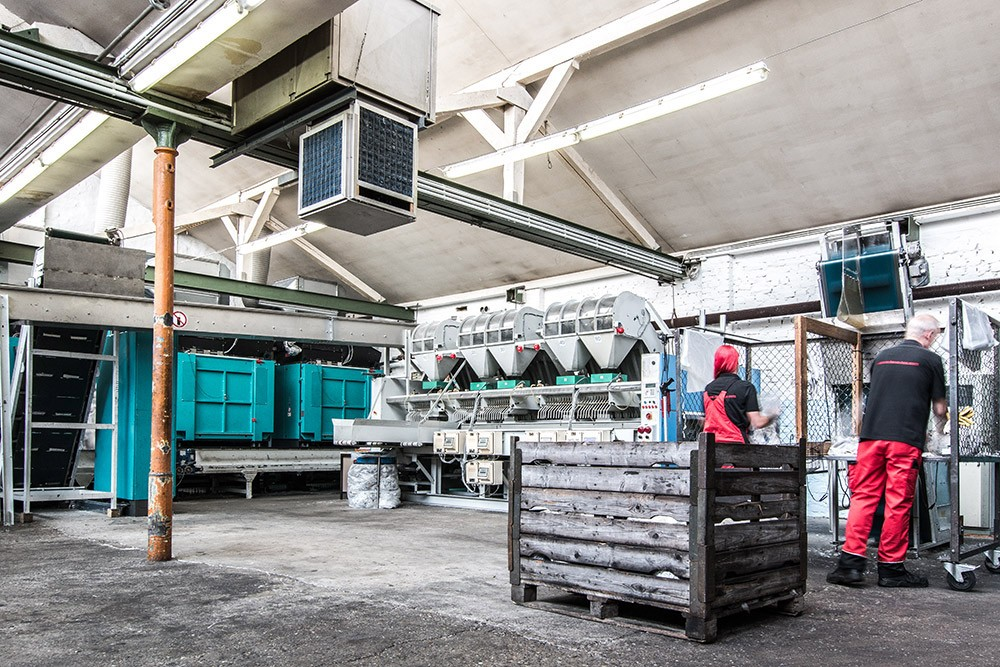Sortiermaschine für TACO Industrieputztücher