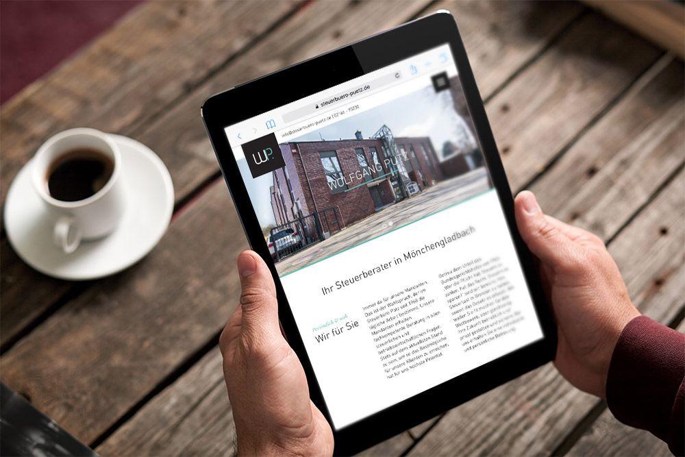 Referenz Steuerbüro Pütz Responsive Webdesign Tablet